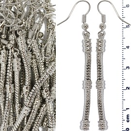 12 Pairs Empty Line Earrings Silver BP085K