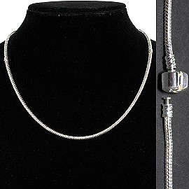 "12pcs 16.5"" Empty Necklace Silver White BP107K"