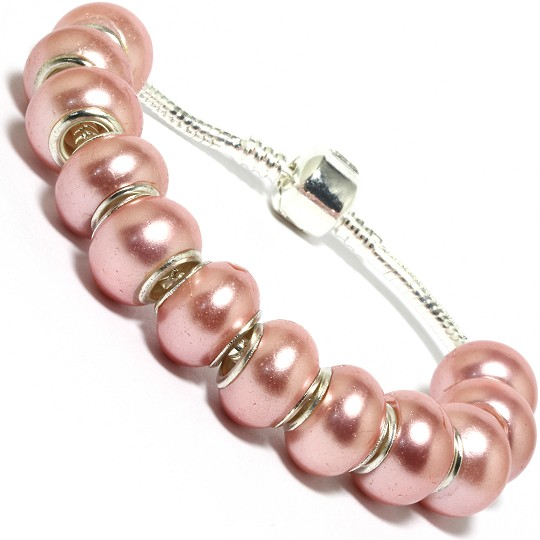 "7.5"" AWE Bracelet Plain Shiny Dark Pink Beads BP13"