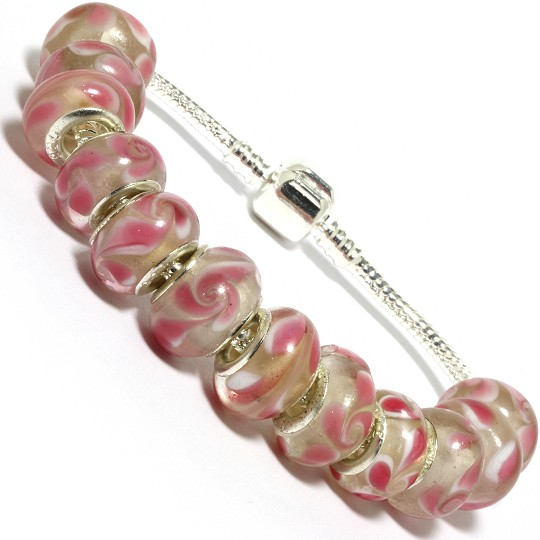 "7.5"" AWE Bracelet Swirl Smooth Beads Clear Pink White BP14"