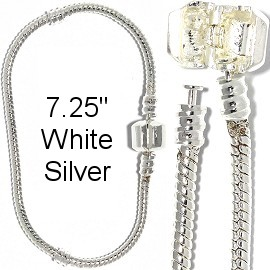 "1pc Bracelet for Charms & Beads 7.25"" White Silver BP147"