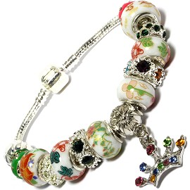 "8"" Bracelet Crown Dangle Charm Wheel Bead Rhinestone BP148"