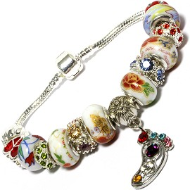 "8"" Bracelet Foot Dangle Charm Wheel Bead Rhinestone BP149"