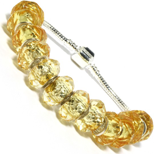 "7.5"" AWE Bracelet Crystal Cut Beads Yellow Silver Tone BP19"