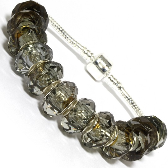 "7.5"" AWE Bracelet Crystal Cut Beads Gray Silver Tone BP21"