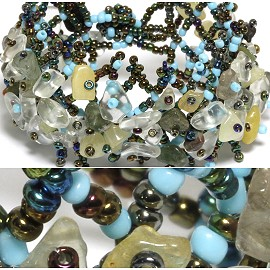 "7"" Bead Stone Bracelet Multi Color Clear Tan Sky Blue CB002"