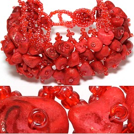 "7"" Bead Stone Bracelet Wide Web Red Maroon CB011"