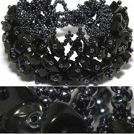 "7"" Bead Stone Bracelet Wide Web Dark Gray Black CB016"