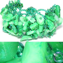 "7"" Shell Bracelet Green CB035"