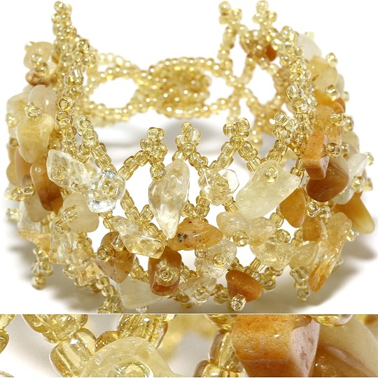 Wide Web Crystal Stone Bead Bracelet Tan Yellow Gold Brown CB106