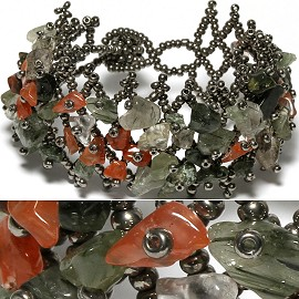 "7"" Bead Stone Bracelet Gray Dark Orange CB114"