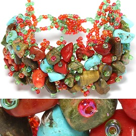 "7"" Bead Stone Bracelet Orange Red Turquoise Teal CB118"