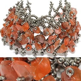 "7"" Bead Stone Bracelet Silver Dark Orange Multi Colored CB130"