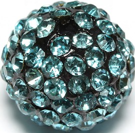 4pcs 13mm Rhinestone Bead Teal W/2mm Hole CX053