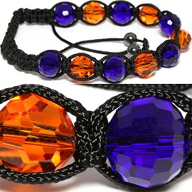 10pcs Shamballa Bracelet 10mm Crystal Round Blue Orange CX063