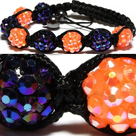 Shamballa Bracelets Crystal 12mm Orange Purple Aura CX197