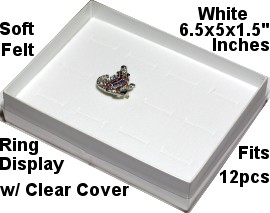 "100pc Ring Display Box Holds 12pcs White 6.5x5x1.5"" Ds121A"