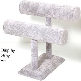 "6""x 5"" Gray Velvet 2 Bar Stand Display Ds163"