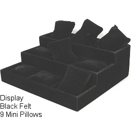 "7.3"" x 8"" Black Velvet 3 Stair, 9 Mini Pillow Ds166"