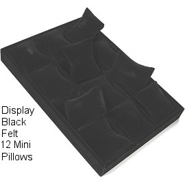 "10.5"" x 7.4"" x 1"" Black Velvet, 12 Mini Pillow Ds172"