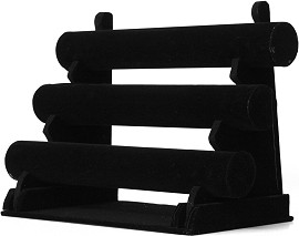 "Black Felt 3 Bar Bracelet Display 13.5x10x6.75"" Inches"
