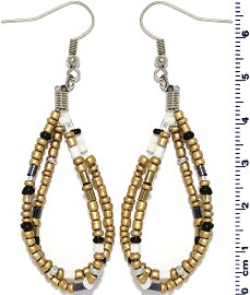 Seed Beads Earring Gold Black White EB110