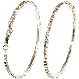 Hoop Earrings Rhinestone Silver 65mm AB Aurora Borealis EB119
