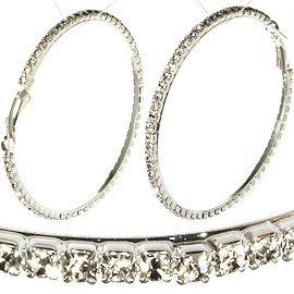 Hoop Earrings Rhinestone Silver Tone 65mm Silver Clear EB120