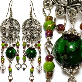Earrings Bead Antique Silver Green EB241