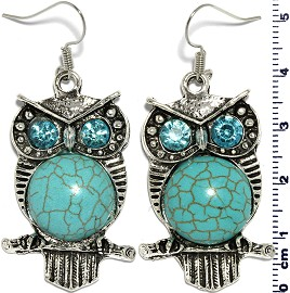 Turquoise Earring Owl Silver EB392