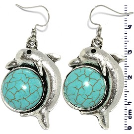 Turquoise Earring Dolphin Silver EB395