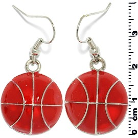 Earring Silver Basketball orange EB401