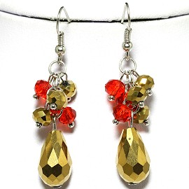 Tear Drop ,Round Red Gold Crystal Silver Earring EB467