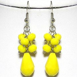 Tear Drop ,Round Yellow Crystal Silver Earring EB488