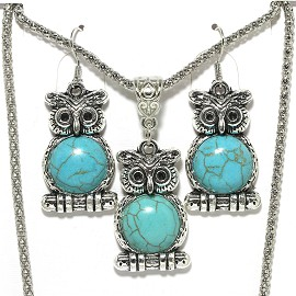 Thin Necklace Earrings Set Owl Silver Turquoise FNE003