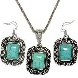 Thin Necklace Earrings Set Rectangle Silver Turquoise FNE005