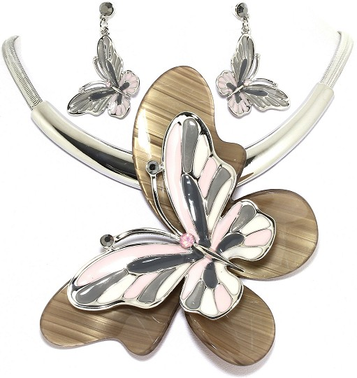 "18"" Necklace Earring Set Jumbo Butterfly Silver Multi BGP FNE007"