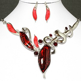 Necklace Earrings Set Leaf Silver Red FNE012