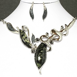 Necklace Earrings Set Leaf Silver Dark Green FNE013