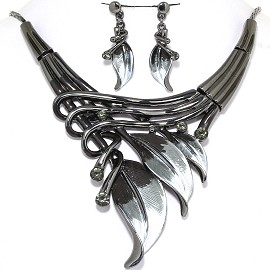 Necklace Earrings Set Leaf Gray Black Dark Gray FNE018