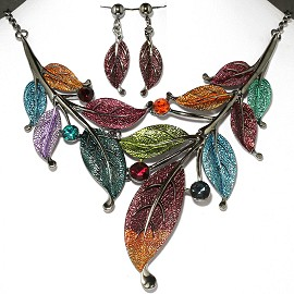 "20"" Necklace Earrings Set Leaf Gray Multi Color FNE021"