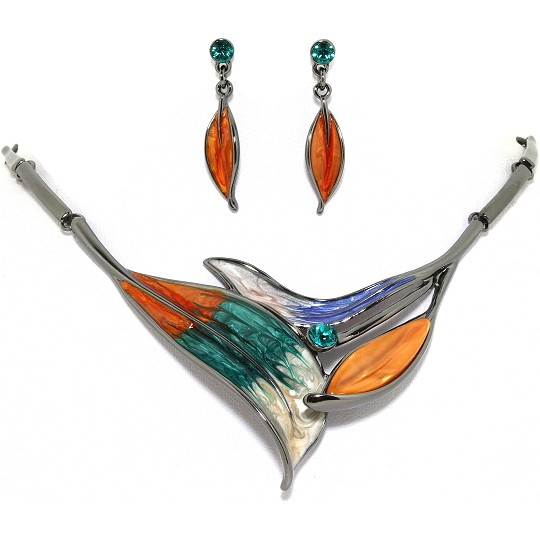 "19"" Necklace Earring Set Leaf Leaves Point Orange Teal Bl FNE022"