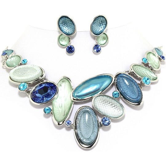 "19"" Necklace Earring Set Oval Gem Turquoise G Silver Tone FNE024"