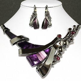 Necklace Earrings Set Line Gray Purple FNE025
