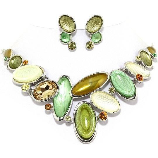 "19"" Necklace Earring Set Oval Gem Green Tea Silver Tone FNE027"