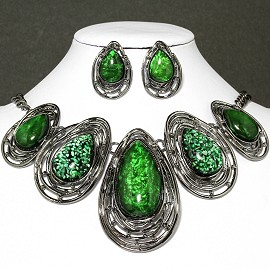 Necklace Earring Set Oval Tear Gray Green FNE030