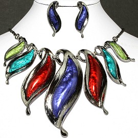 Necklace Earrings Set Leaves Gray Multi Color FNE035