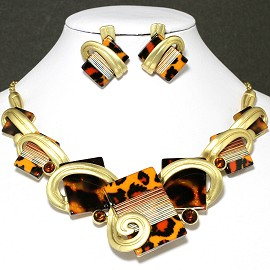Necklace Earrings Set Rectangle Gold Orange Black FNE037