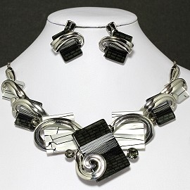 Necklace Earrings Set Rectangle Silver Black White FNE039