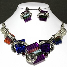Necklace Earrings Set Rectangle Silver Multi Color FNE040